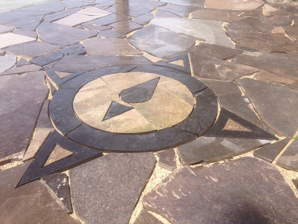 Flag Stone Patio with Compass