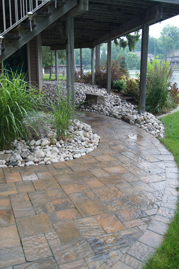 Interlocking Walkway and Riverstone Flowerbed