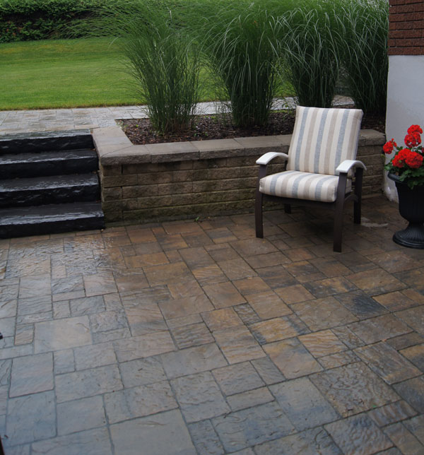Interlocking Patio with Shouldice Retaining Wall
