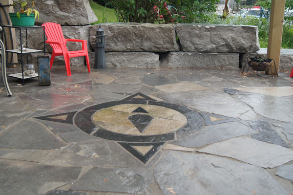 Flagstone Patio with Compass