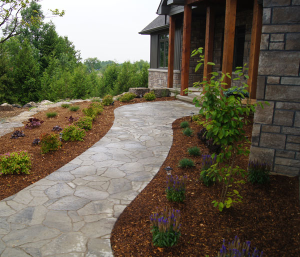 Walkway and Flowerbeds