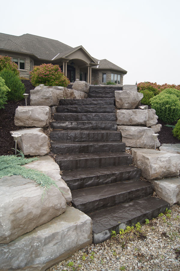 Steps with Armour Stone Walls