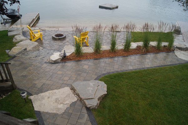River's Edge Garden Centre by Paul Berberich Landscaping,Hanover Ontario, Walkerton Ontario, Gery-Bruce, interlocking walkway, Natural Stone, Retaining wall, firepit, Arbel Paver By Permacon
