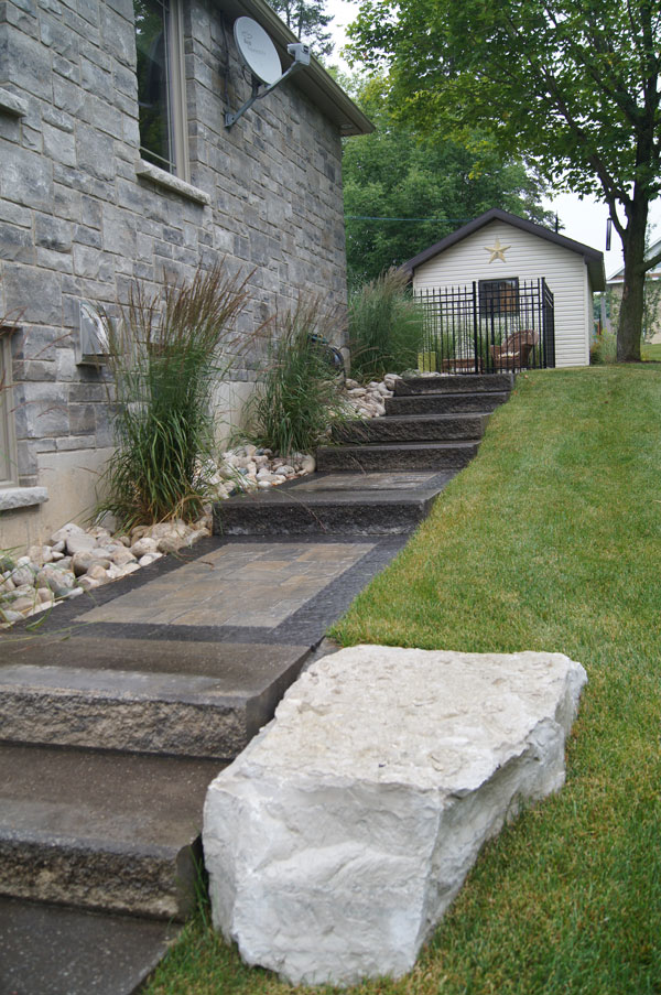 Interlocking Walkway with Natural Stone Steps