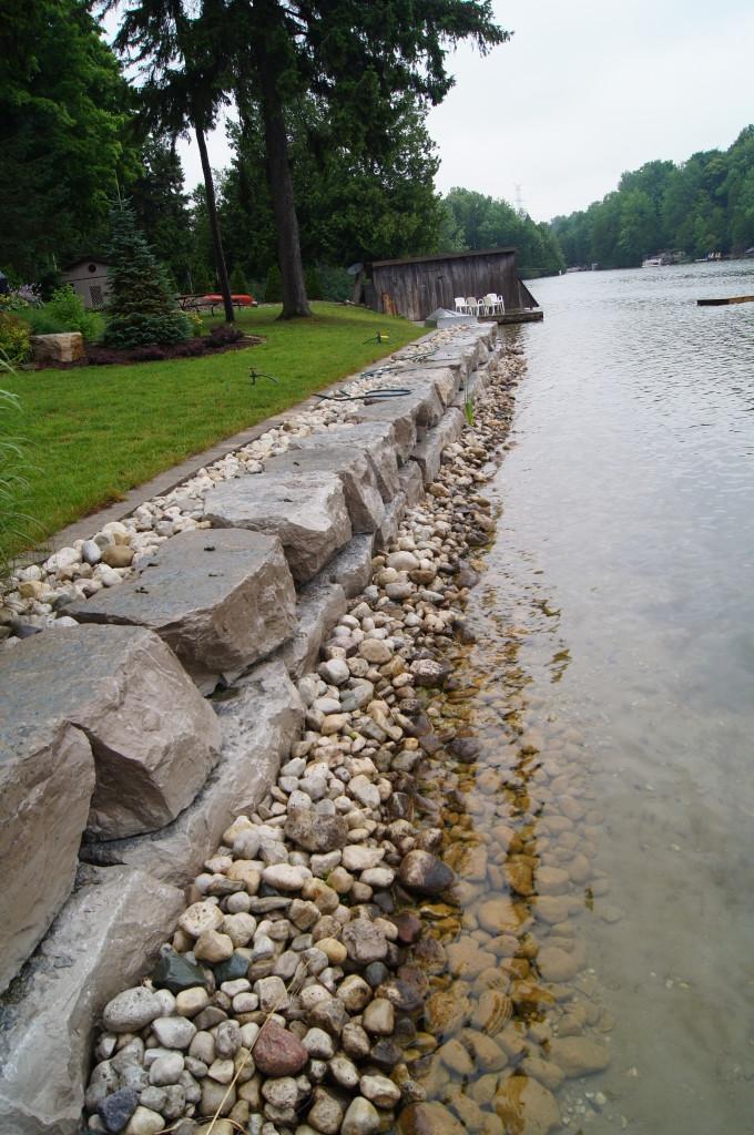 Waterfront Armour Stone Retaining Wall